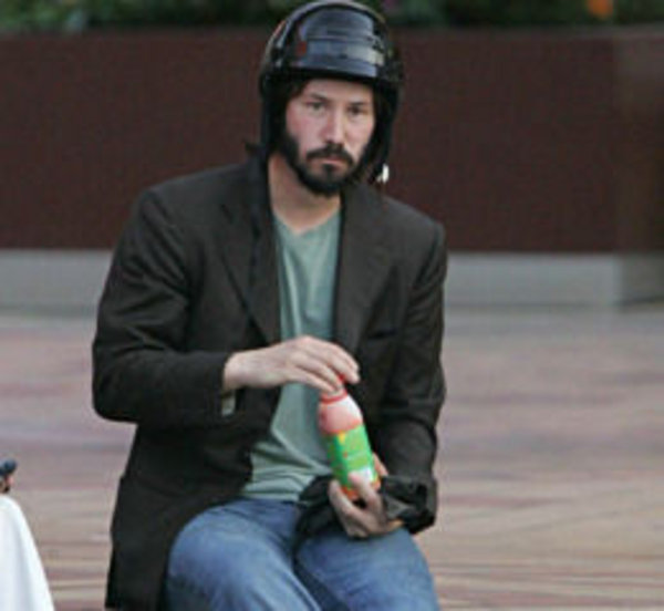 Sad Keanu in a Helmet | Know Your Meme