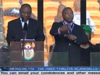 Fake Interpreter at Mandela Memorial