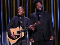 "Black Simon and Garfunkel Perform ""All About That Base"""