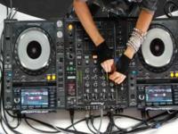 Colombian Model DJs with Empty Decks