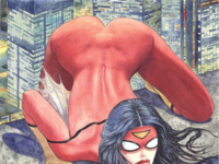 Maddox Defends Spider-Woman Butt Cover