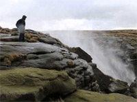 Waterfall Blown Upwards by High Winds in UK