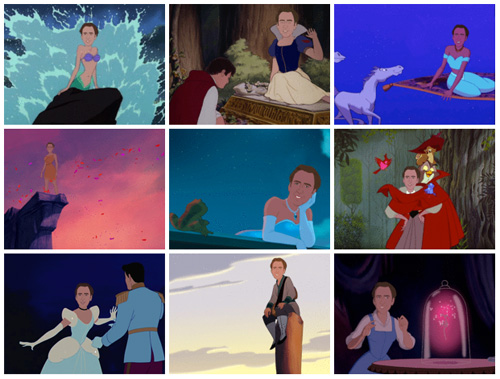 Nic Cage as Disney Princesses