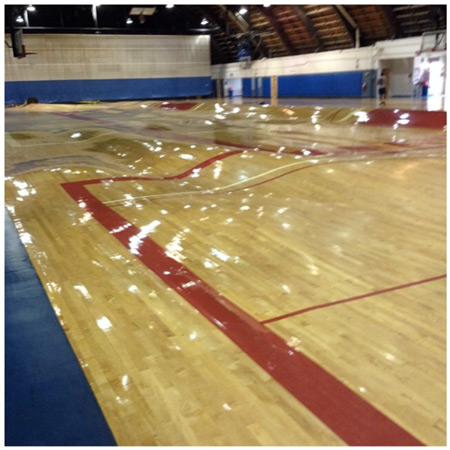 What a Pipe Burst Does to a Basketball Court