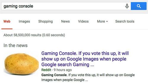 Reddit Googlebombs a Potato Into a Console