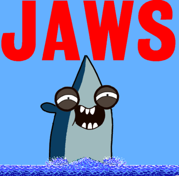 rigby jaws jaws poster parodies know your meme. Black Bedroom Furniture Sets. Home Design Ideas