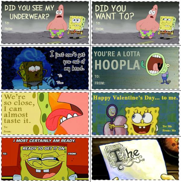 Funny spongebob valentines