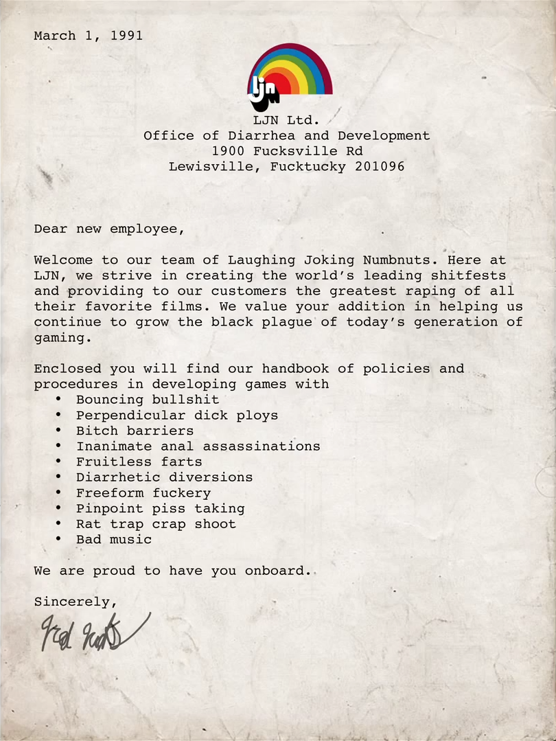 Ljn Employee Letter The Angry Video Game Nerd Know