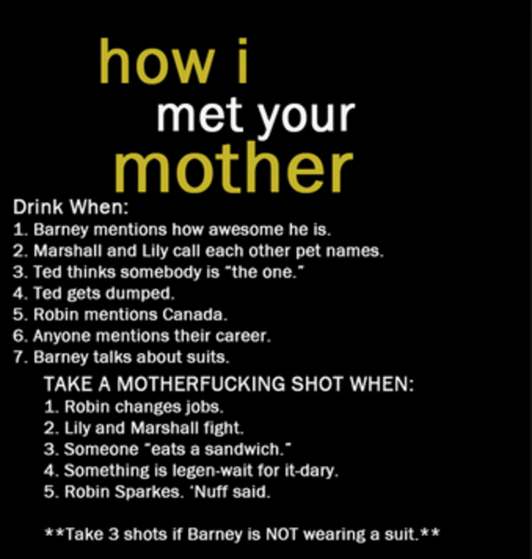 Suit up, It's The How I Met Your Mother Drinking Game ...