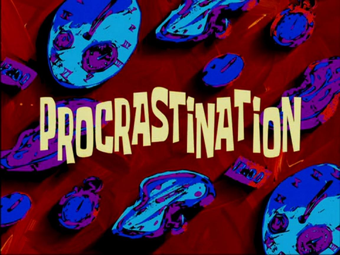 procrastination spongebob time cards know your meme