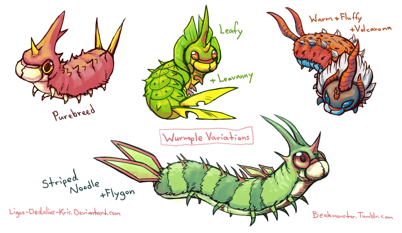 Wurmple variations | Pokemon Variants | Know Your Meme