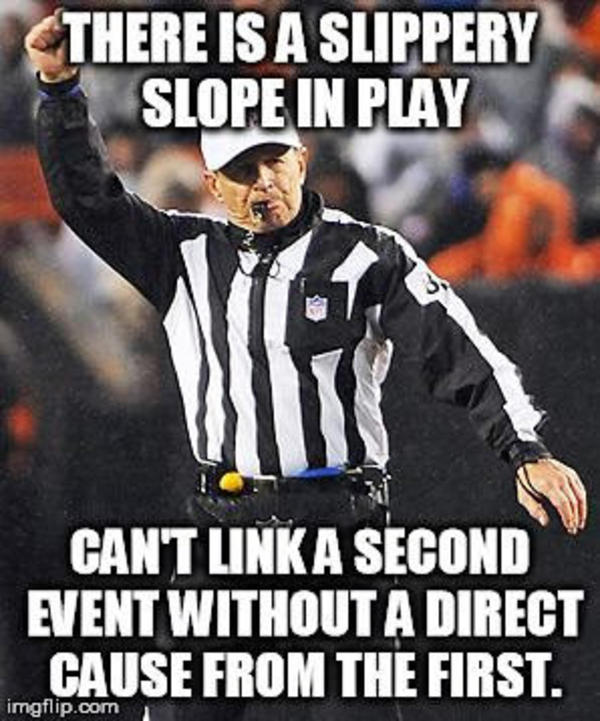 Slippery slope | Logical Fallacy Referee | Know Your Meme