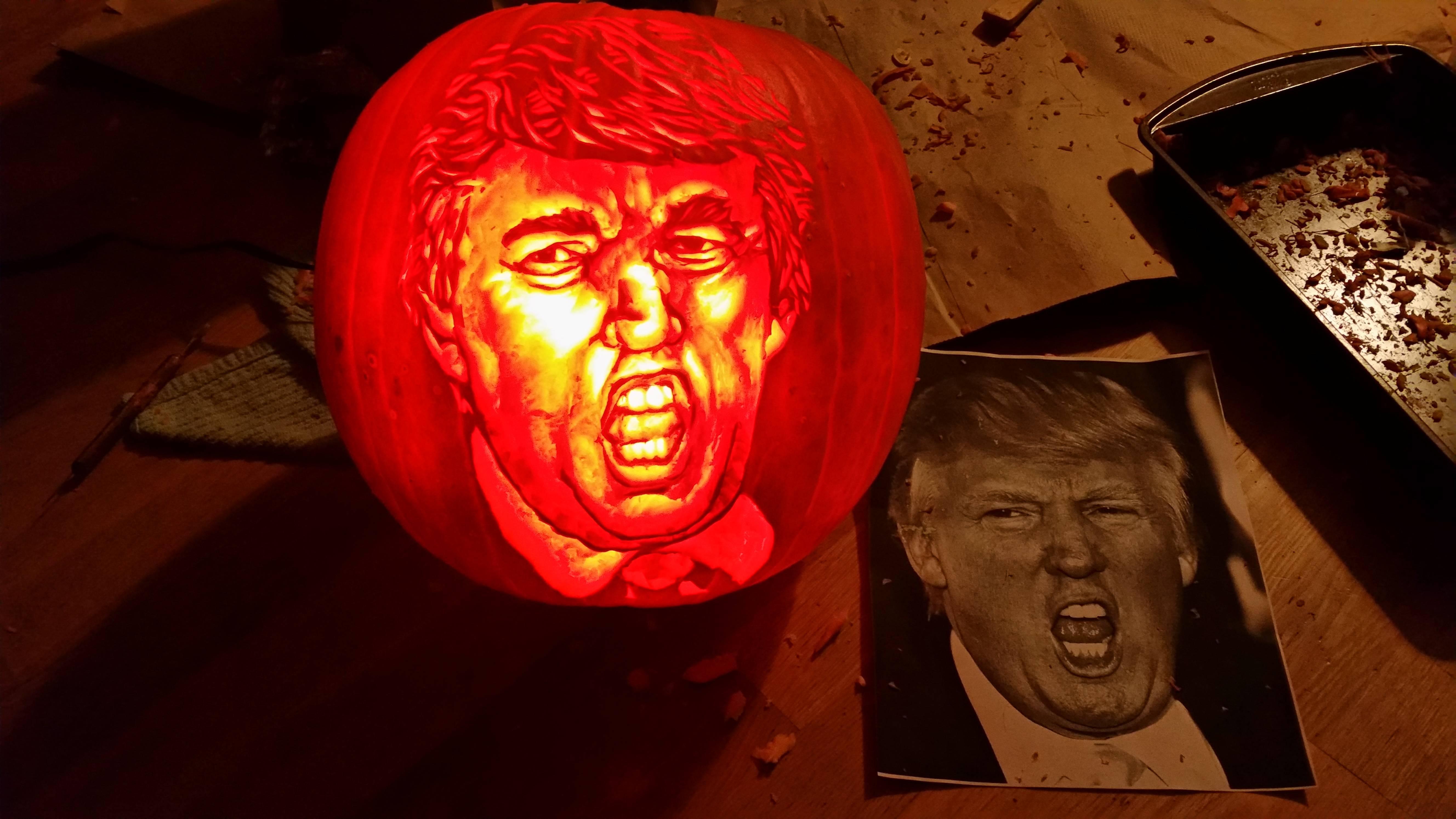 Donald trump pumpkin carving art know your meme