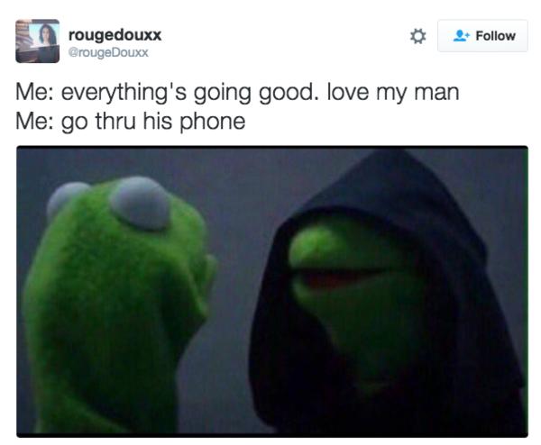 Funny Dark Kermit Meme : Go thru his phone evil kermit know your meme