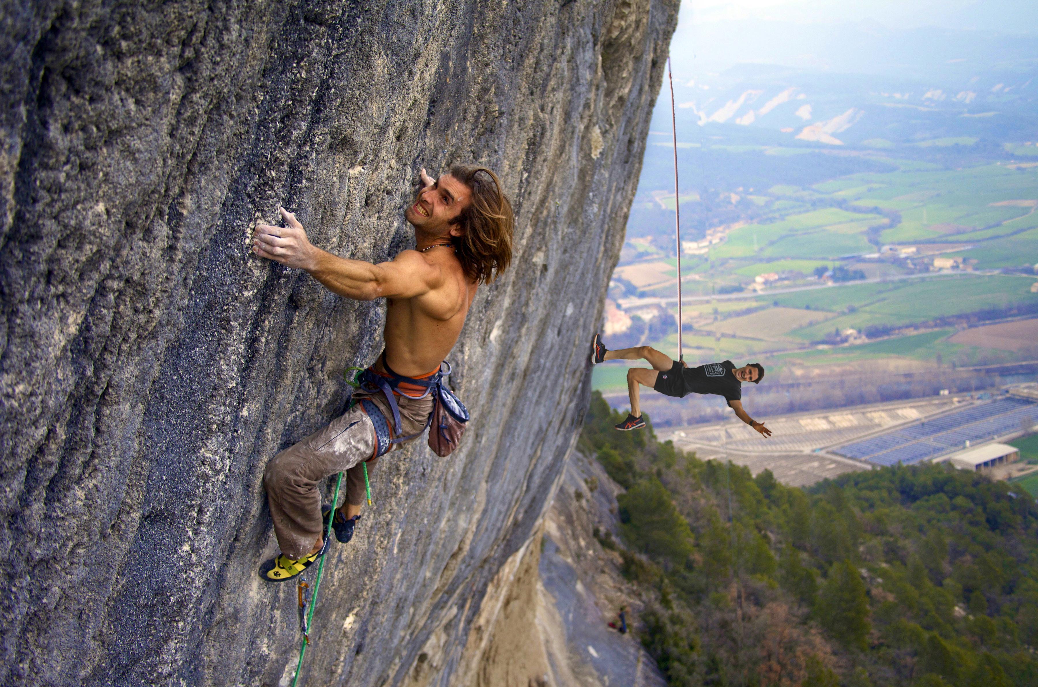 guy rock climbing naked