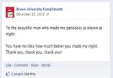 University Compliment Facebook Pages