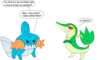 Mudkip_vs_smugleaf_by_loneclone-d2xjrbz