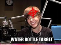 Justin Bieber Gets Hit By A Water Bottle