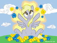Derpy_among_the_flowers_by_tim_kangaroo-d3eoh9r