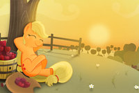 55051+-+applejack+apples+artist+axian_art+plump+sitting+sunset