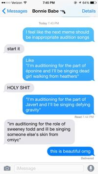 Inappropriate Audition Songs
