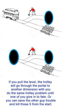 the trolley problems 2015-4-20  the time traveler there's an out of control trolley speeding towards a worker you have the ability to pull a lever and change the trolley's path s.