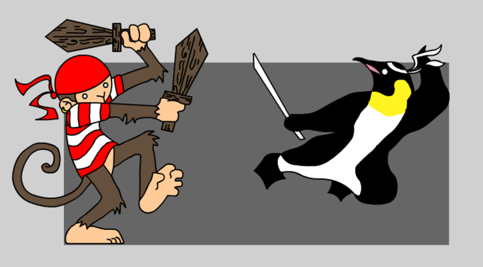 Pirate_Monkey_vs_Ninja_Penguin_by_kitty_chan.png