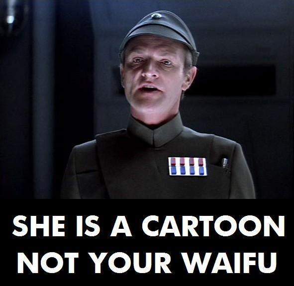 She is a cartoon, not your waifu