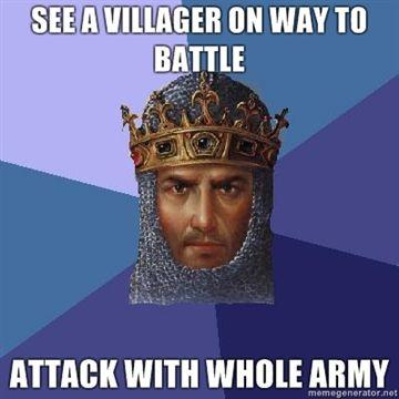 See-a-villager-on-way-to-battle-Attack-with-whole-army.jpg