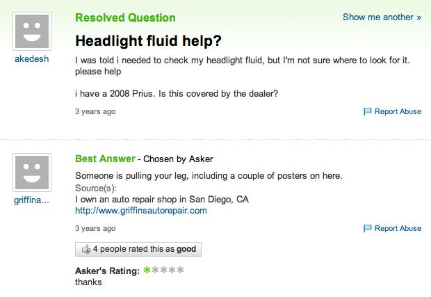 Headlight Fluid   Know Your Meme
