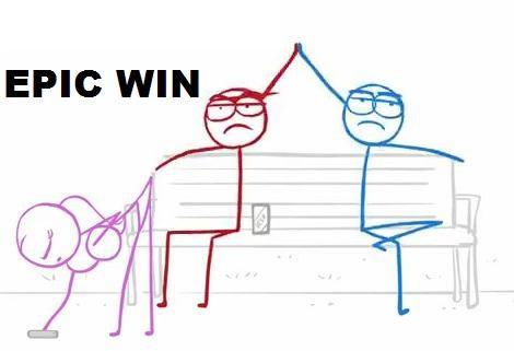 dick figures - red and blue epic win
