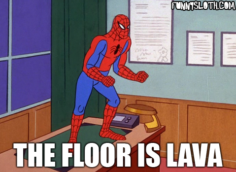 The floor is lava 39 60s spider man know your meme for Floor is lava meme