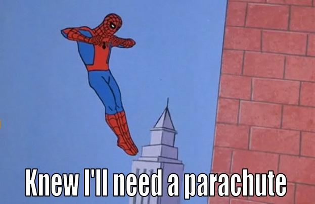 Spidey needs a parachute