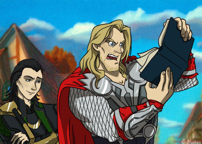Thor reads Loki's plans for world domination.