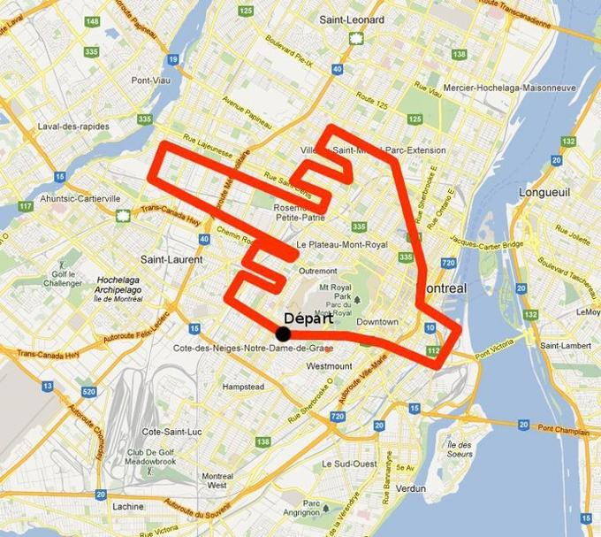 Responding to cops when asked to give exact march route, Quebec students provided this map