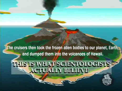 """rom South Park, about """"what Scientologists actually believe""""..."""