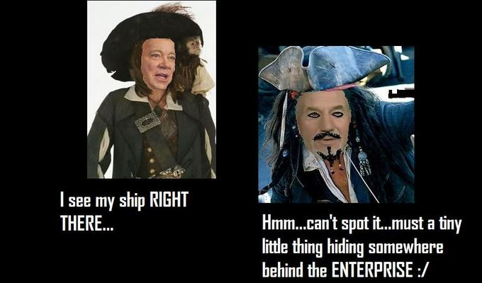 Jean Luc Sparrow vs James T Barbossa...should be a Captain in there somewhere...