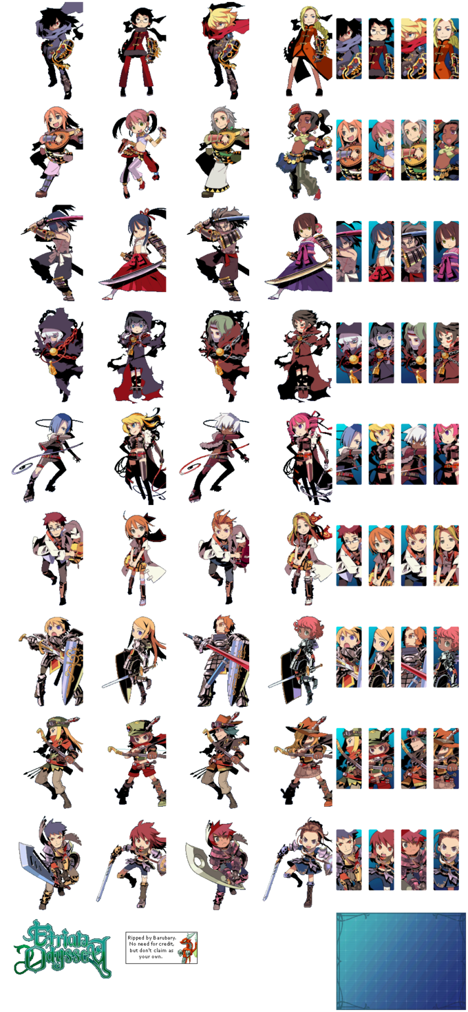 Etrian Odyssey character portraits