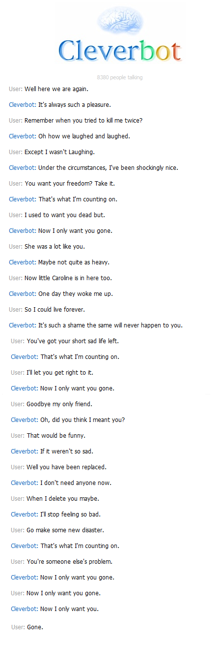 Huh, More Cleverbot Making Portal references.