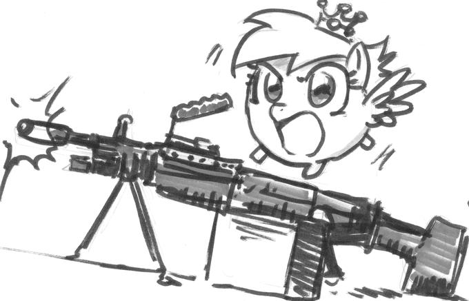 mini blob derpy riding on an m249 light machine gun..... (FROM TROTCON) by john joseco
