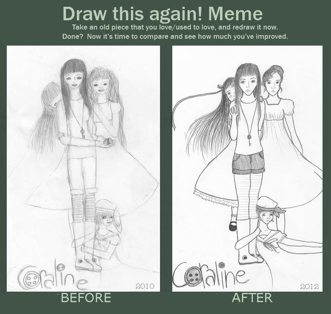 Before and after meme: Coraline