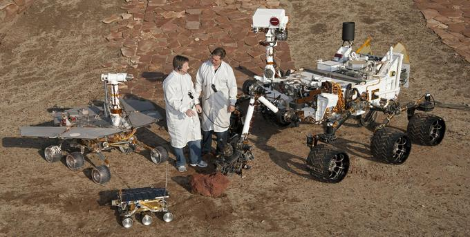 Opportunity (medium), Sojourner (tiny) and Curiosity (massive)
