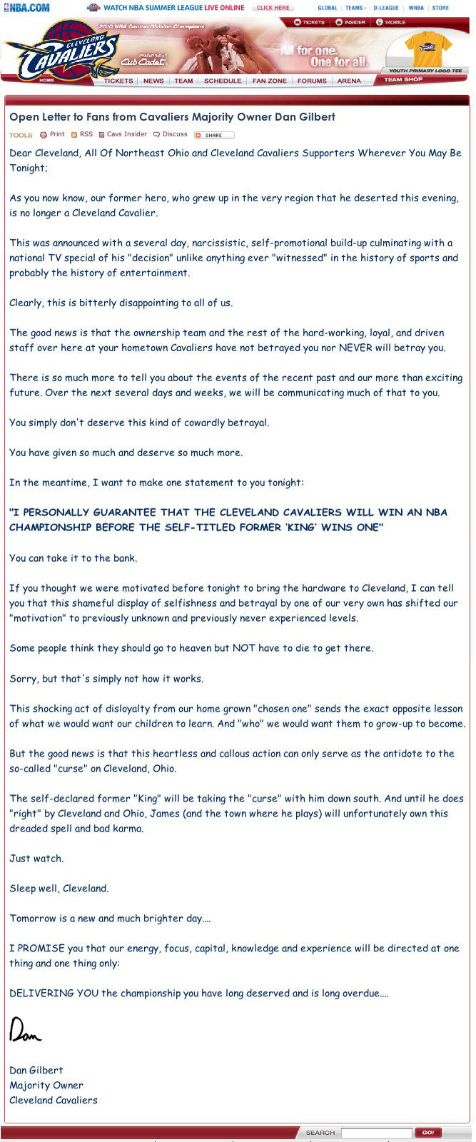 Cleveland Cavaliers owner Dan Gilbert reacts to Lebron's betrayal...IN COMIC SANS!!!