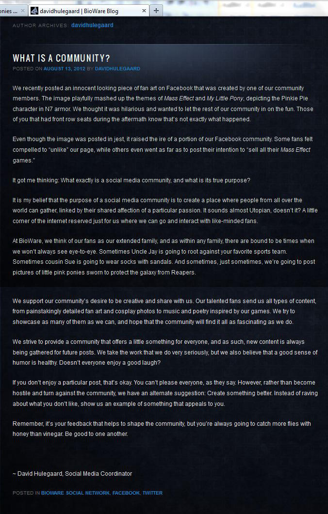 Bioware's Message to its Fans