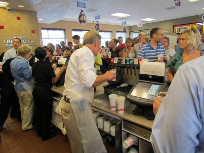 Todd Akin passing out Chick-fil-A