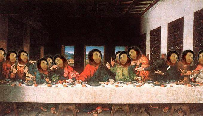 Ruined Ecce Homo fresco in The Last Supper