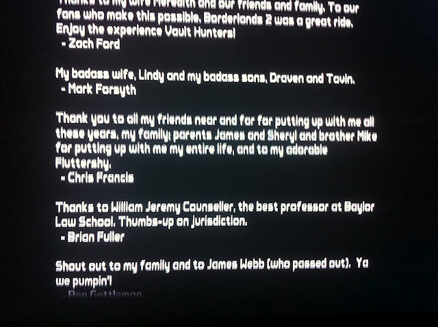 Shoutout in Borderlands end credits