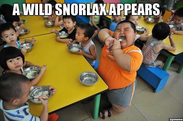 A wild snorlax appears fat asian kid
