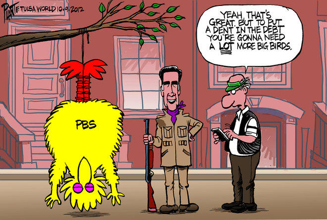 Romney Hangs Big Bird, Reduces Debt
