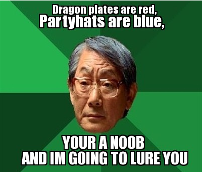 Dragon Platebodies are red, Partyhats are blue....